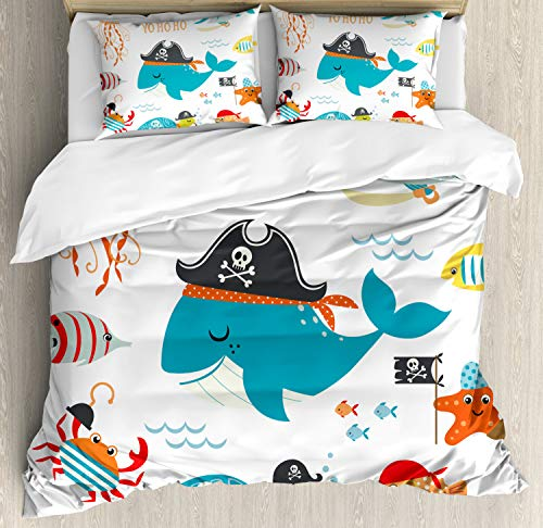 (Ambesonne Kids Duvet Cover Set Queen Size, Ahoy Pirate Whale Turtle Pipe Hook Crab Octopus Captain Starfish Swordfish Nautical Underwater Print, Decorative 3 Piece Bedding Set with 2 Pillow Shams)