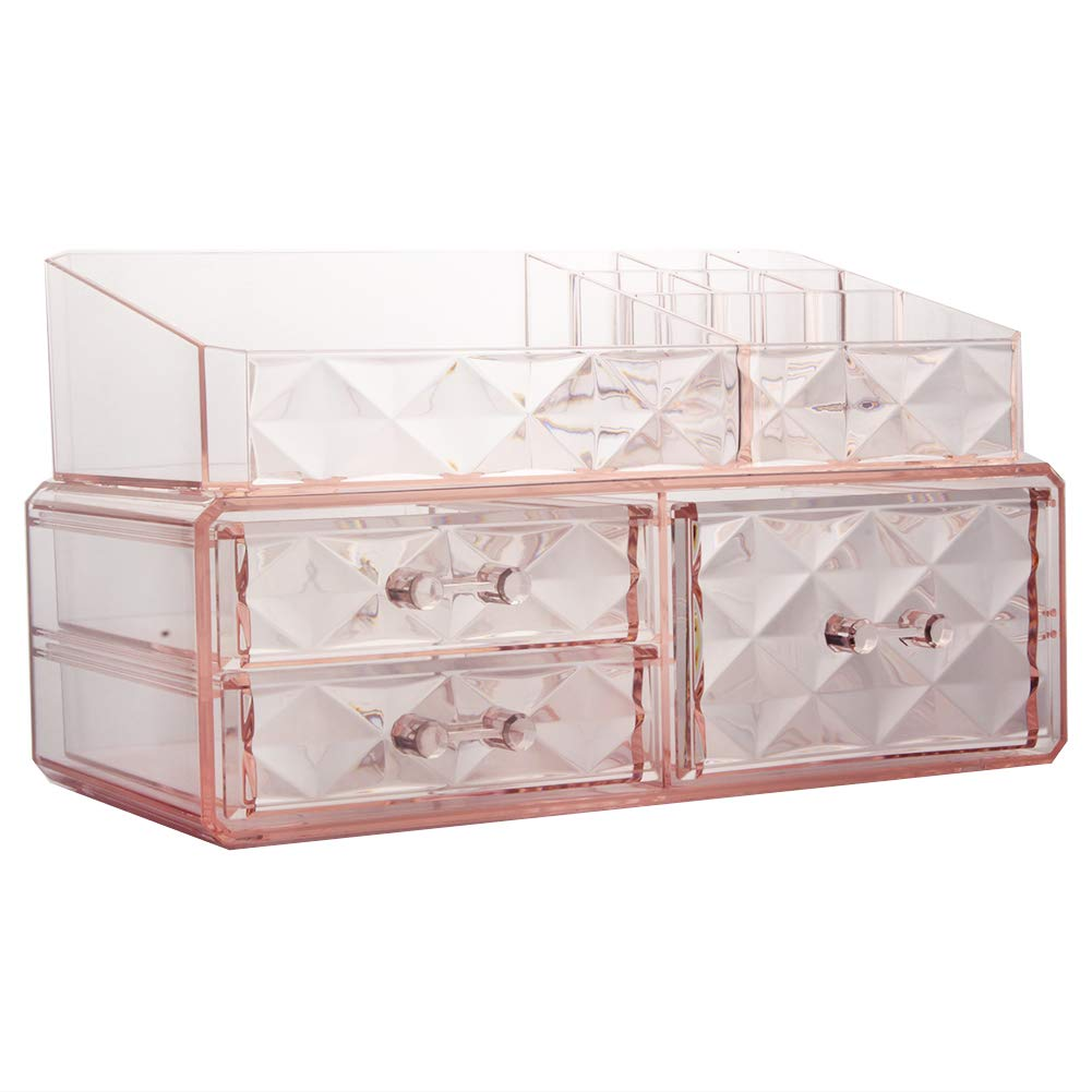 Makeup Organizer Acrylic Cosmetic Storage Drawers and Jewelry Display Box (3 drawer)