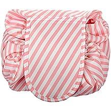Drawstring Cosmetic Bag Travel Lazy Makeup Storage Bag Toiletry Bags Portable&Waterproof Quick Pack Large Cosmetic Bag Dual Magic Bags with Zipper&Drawstrings (Pink Stripe)