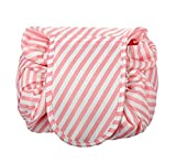 Drawstring Cosmetic Bag Travel Lazy Makeup Storage Bag Toiletry Bags Portable&Waterproof Quick Pack Large Cosmetic Bag Dual Magic Bags with Zipper&Drawstrings (Pink Stripe)