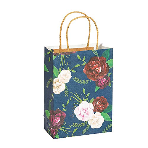 Fun Express Medium Navy Floral Paper Gift Bags | 12 Count | Great for Great for Wedding Party, Bridal Shower, Engagement Party, Birthday Celebration, Party Favor - Floral Gift Bags