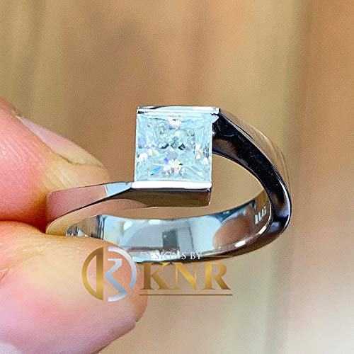 (Elegant 14k solid and heavy white gold princess cut diamond engagement ring tension set bridal wedding anniversary 0.70ctw)