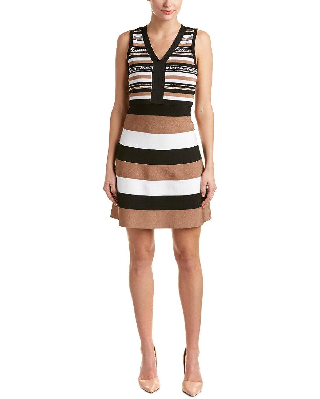 Karen Millen Womens Knit A-Line Dress, Brown