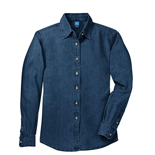 Port & Company - Ladies Long Sleeve Value Denim Shirt (LSP10), L, Ink (Ladies Long Sleeve Denim Shirt)