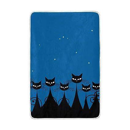 Mnsruu - Manta de Cama Grande, diseño de Gatos Negros en la Noche, Suave