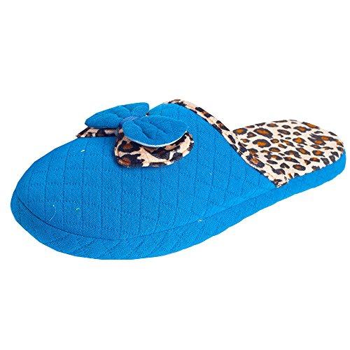 Damen Hausschuhe Haus Pantoffel Hauspantolette Flausch Leopard Blau