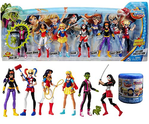 Unique Outfits 6 Figures Pack DC Super Hero Girls Action Collection Beast Boy from Teen Titans Pig + Harley Quinn, Wonder Woman, Supergirl, Batgirl, Katana & Squishy Blind Capsule Fashem Character ()