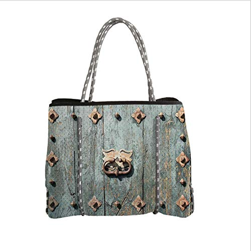 iPrint Neoprene Multipurpose Beach Bag Tote Bags,Rustic,European Cathedral with Rusty Old Door Knocker Gothic Medieval Times Spanish Style Decorative,Turquoise,Women Casual Handbag Tote ()