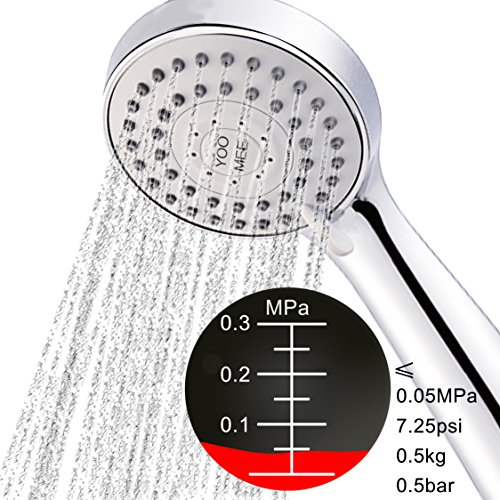 YOO.MEE High Pressure Handheld Shower Head with Powerful Shower Spray against Low Pressure Water Supply Pipeline, Multi-functions, Bathroom Accessories w/Hose, Bracket, and Teflon Tape- Chrome