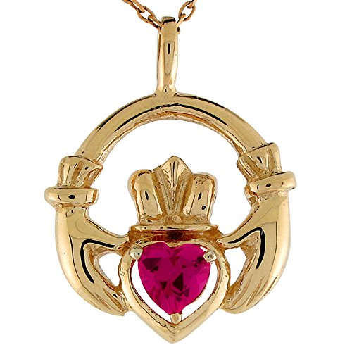 Jewelry Liquidation 10k Yellow Gold Simulated Ruby July Birthstone Claddagh Irish Charm Pendant