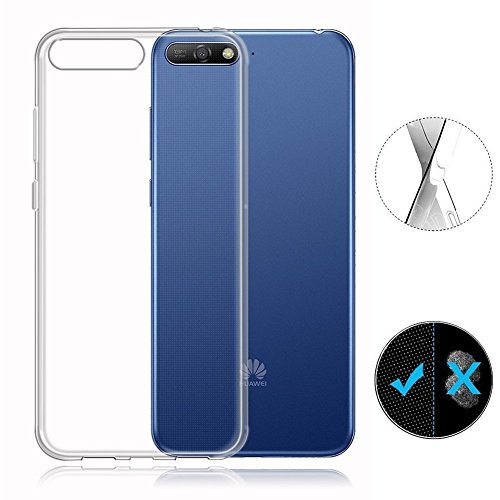 Huawei Y6 2018 Case, AVIDET Shock-Absorption Flexible Soft Gel TPU Silicone Case Cover for Huawei Y6 2018 (Transparent)