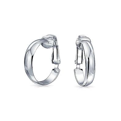 Bling Jewelry 925 Sterling Silver Hoop Clip On Earrings .75in Alloy Clip ZjHitvoc