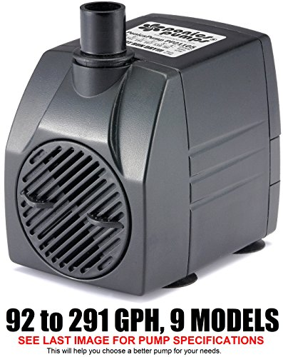 PonicsPumps PP21105: Submersible Pump for Hydroponics, Aquaponics, Fountains, Ponds, Statuary, Aquariums & more. Comes with 1 year limited warranty. (211 GPH : 5' Cord) (200 Gph Submersible Pump)