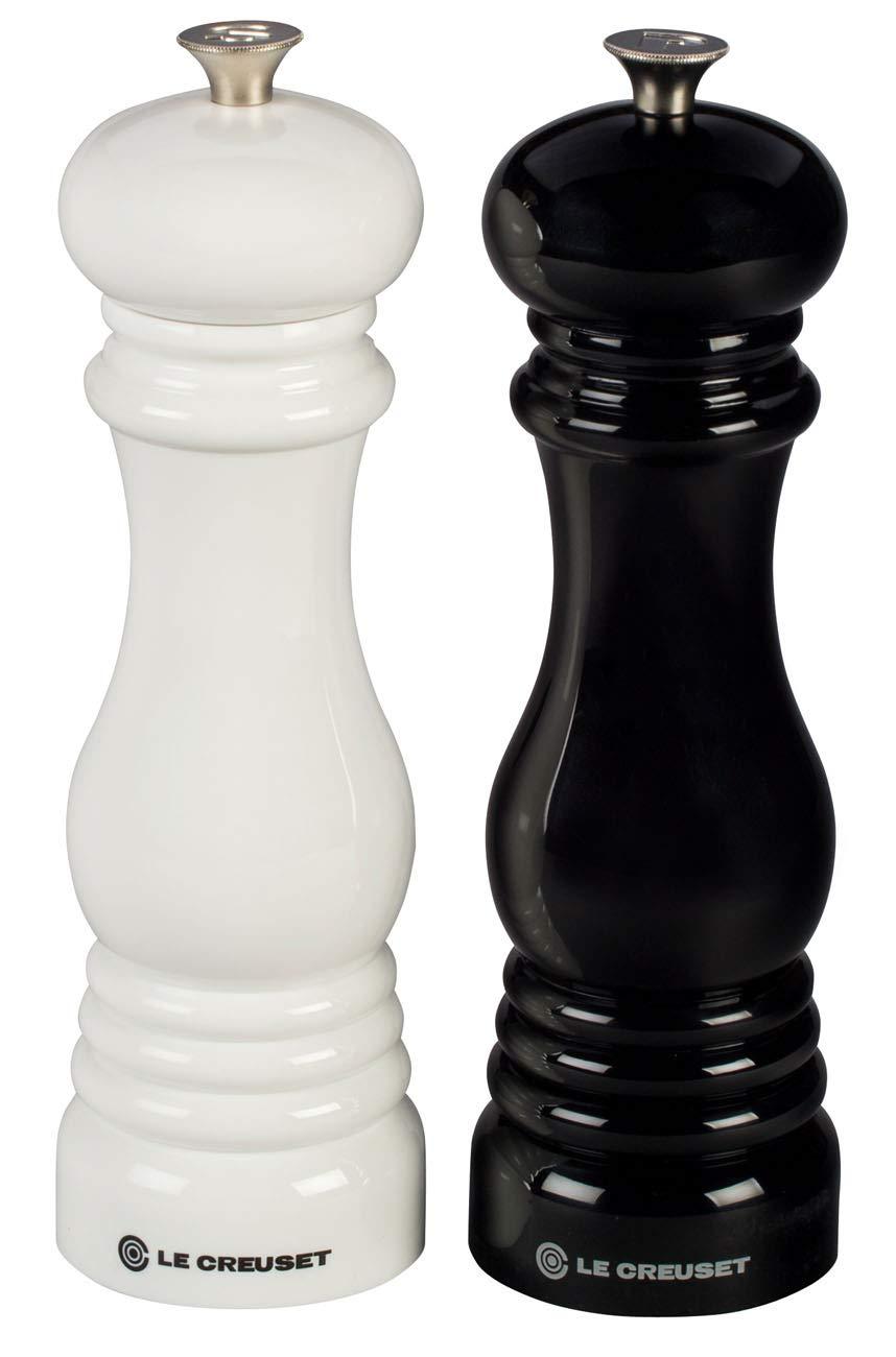 21 Cm LE CREUSET Le Classic Molinillos para Sal y Pimienta Set de 2 Blanco y Negro