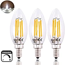 Bonlux 6 Watt LED E12 Candle Light Bulb - 60 Watt Incandescent Replacement, Dimmable Candelabra Base LED Light, Clear Glass Cover, C35 E12 Torpedo Shaped Filament Bulb Lamp (Daylight, 3)