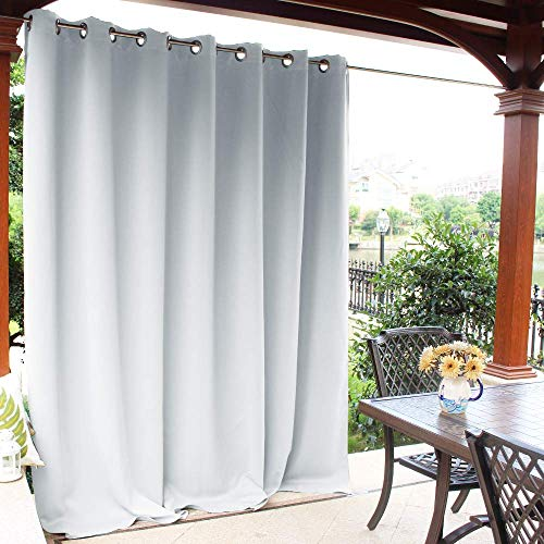 NICETOWN Outdoor Privacy Curtain for Pergola - Thermal Insulated Water Repellent Room Darkening Drape for Balcony, Privacy Curtain Room Divider (Greyish White, 1 Panel, 100 Inch by 95 Inch)