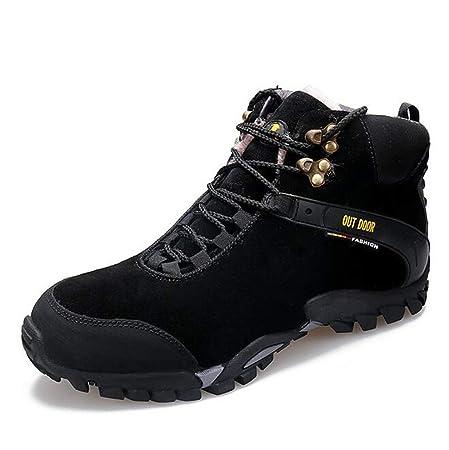 bf32493e461df8 Damenschuhe Winter High-Top Sneaker Herren Damen Leder Plus Cashmere  Arbeitsstiefel Outdoor Sports Wanderschuhe Lovers Snow Boots (Farbe   Ein