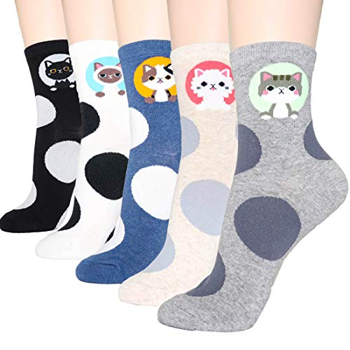 DearMy Womens Cute Design Casual Cotton Crew Socks | Good for Gift Idea| One Size Fits All (Lucky Cats 5 Pairs)]()