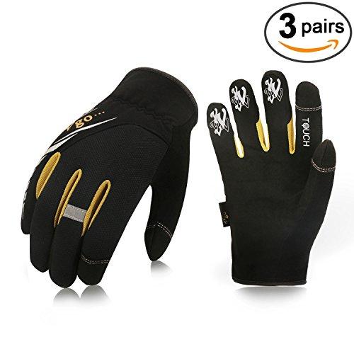 Vgo... High Dexterity Light Duty Mechanic Gloves, Rigger Gloves(3 Pairs)(Touchscreen,Fast (Fast Fit Gloves)