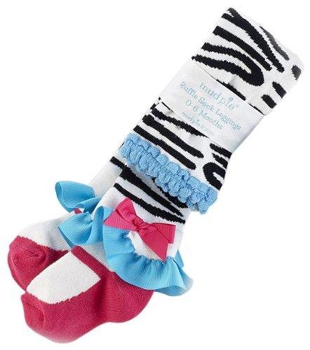 Mud Pie Wild Child Zebra Tights, Black/White/Blue/Pink, 12 18 Motns