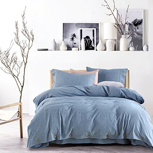 Kiss&tell Linen Cotton Soft Solid Color Wrinkle Count Egyptian Quality Queen Duvet Cover Bedding Set, Water Blue