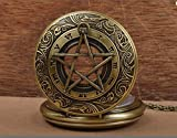 Supernatural Pocket Watch Vintage Brass Pocket Watch with Pentagram Protection Necklace
