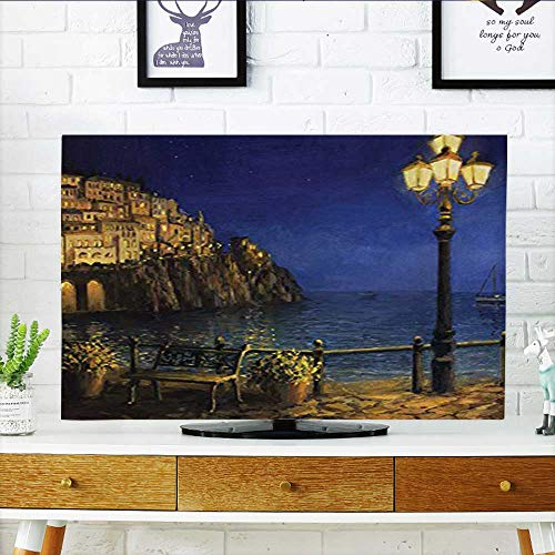 Amalfi Sofa (Jiahonghome Cord Cover for Wall Mounted tv Collection Romantic Evening at The Coast of Amalfi in Italy Calm Waters City Cover Mounted tv W30 x H50 INCH/TV 52