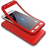 Appliances : PHEZEN Galaxy J7 Pro 2017 Case w/[Tempered Glass Screen Protector],Shockproof 360 Degree Full Body Protection Slim Fit Front and Back Matte TPU Silicone Case for Samsung Galaxy J7 Pro 2017, Red