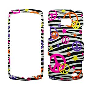 Rubberized White Black Zebra Pink Purple Yellow Orange Colorful Peace Star Snap on Design Case Hard Case Skin Cover Faceplate for Lg Ally Vs740 + Screen Protector Film + Free Cell Phone Bag