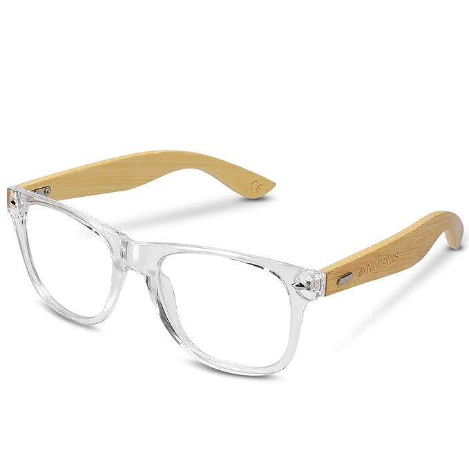 Originales gafas de montura transparente y patillas de madera. Buenos acabados.