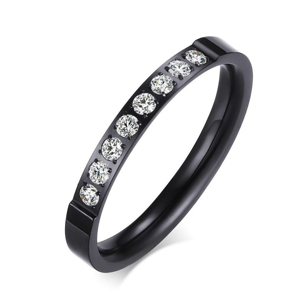 Womens Black Fashion Jewelry 3mm Stainless Steel Thin Wedding Ring CZ Zircon Engagement Promise Band Size 7
