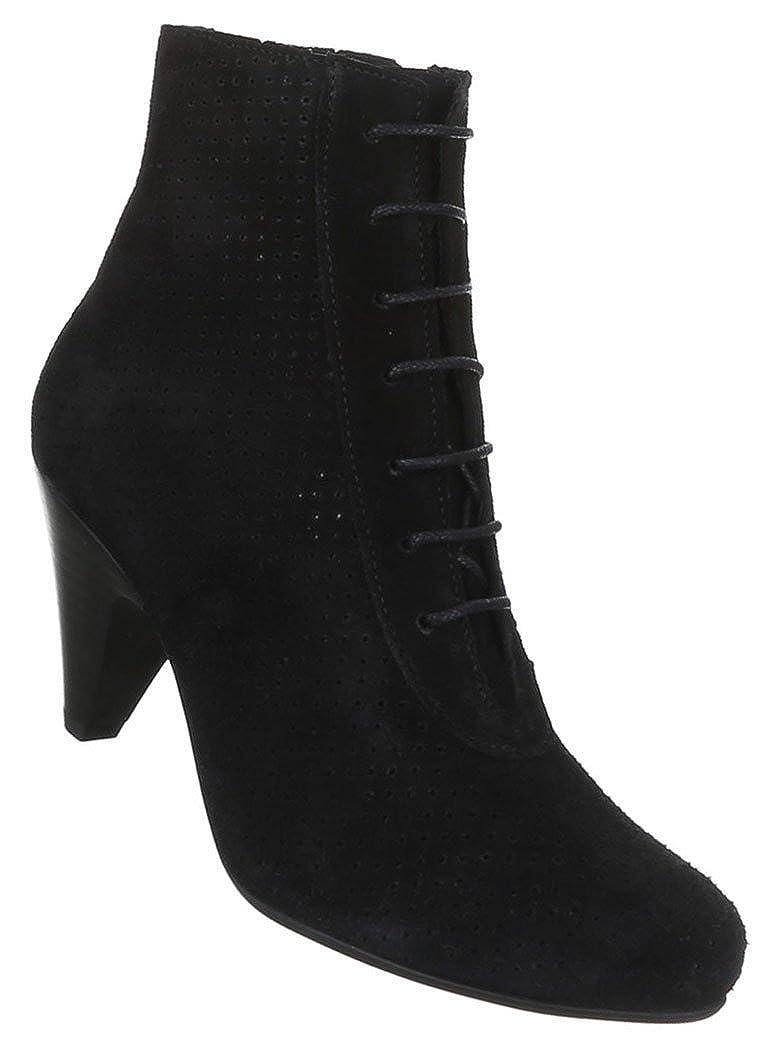 Damen Schuhe Stiefeletten Perforierte Leder Schnür Stiefel Schwarz