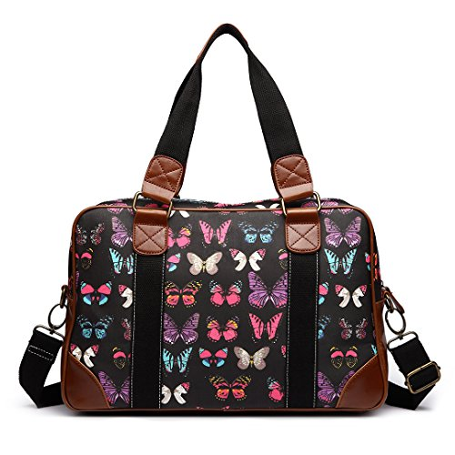 Miss Lulu , Damen Tote-Tasche Schmetterling Schwarz