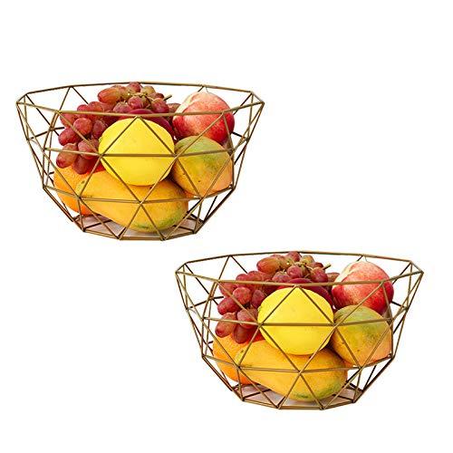 - AceList Set of 2 Metal Fruit Basket Countertops Storage Bowl Vegetable Basket Displat Stand (Gold)