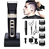 [2018 New Version ]MEN 's Professional Hair Clippers Precision Cordless Fade Clipper Trimmer for Men & Hair Clippers for Kids. Hair Trimmer Set 4 Guides Combs + 2 Scissors Fit to Men,Women,Kids,Barber