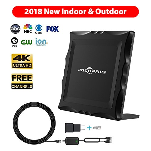 Long Range Indoor/Outdoor HDTV Antenna, Supports Multiple TVs - 4K HD 1080P High Reception Amplified Digital TV Antenna - VHF UHF Channels, Easy Installation w/Amplifier & 33FT Cable
