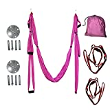 Egojin High Strength Decompression Hammock Inversion Trapeze Anti-Gravity Aerial Traction Yoga Gym Swing Hanging With 4 Color(pink)