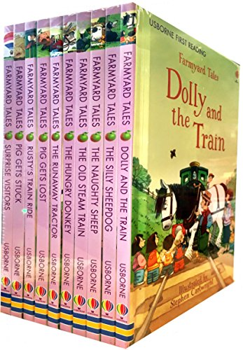 Usborne First Reading Farmyard Tales Collection 10 Books Set (Dolly and the Train, The Silly Sheepdog, The Naughty Sheep, The Old Steam Train, The Hungry Donkey, The Runaway Tractor, Pig Gets Lost, Ru