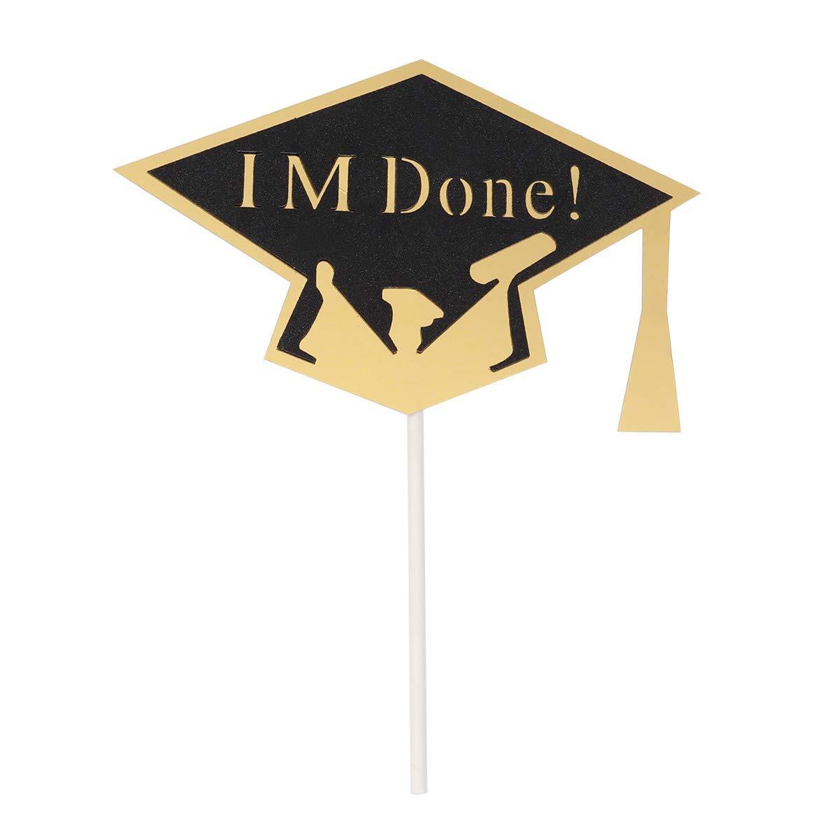 BESTONZON 10PCS he Terminado de graduación Cap Cupcake Toppers para la Fiesta de graduación favorece la decoración