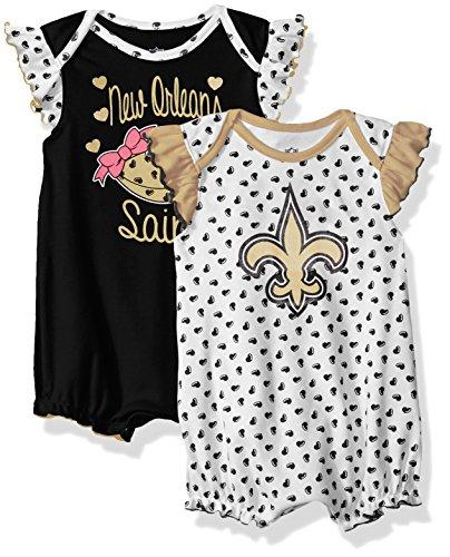 Girls Clothing New 2 Piece - Outerstuff NFL Infant Heart Fan 2 Piece Creeper Set-Black-18 Months, New Orleans Saints