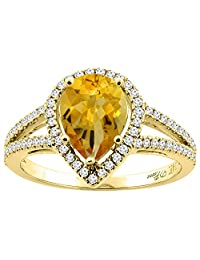 14K Gold Natural Citrine Ring Pear Shape 9x7 mm Diamond Accents, sizes 5 - 10