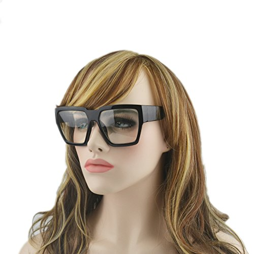 MINCL/Unisex Super Oversize Black Geometric Frame Sunglasses (black-plain, - Plain Sunglasses Black