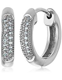 Diamond Pave Hoop Earrings (1/10cttw, I-J Color, I2-I3 Clarity)