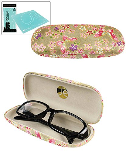 JAVOedge Gold Butterfly and Flower Pattern Eyeglass / Reading Glass Hard Case