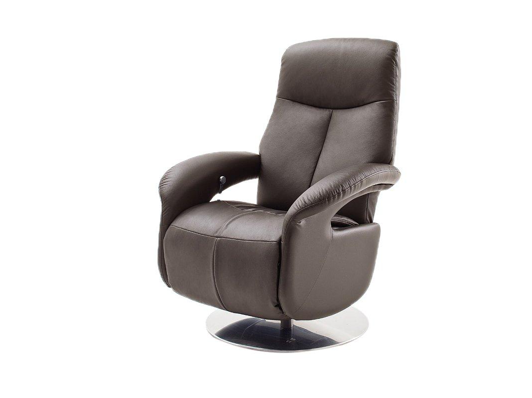Robas Lund 64045BZ5 Relaxsessel MIKA mit Fußstütze, braun, Tellfuß Edelstahl-Optik, manuell verstellbar, Bezug Kontaktflächen Rindsleder, circa 80 x 85-159 x 110-84 cm