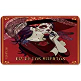 Memory Foam Bath Mat,Day Of The Dead Decor,Skull Dead Corpse Cute Girl with Hat and French DressPlush Wanderlust Bathroom Decor Mat Rug Carpet with Anti-Slip Backing,Maroon Ruby and Burgundy