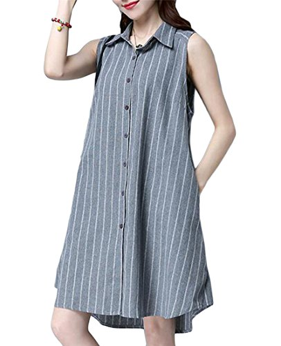 Big Shirt Striped Button Dress Gray Pendulum Sleeveless Casual Cromoncent up Linen Womens Loose aOqw8F