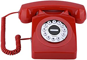 Yoidesu Retro Rotary Phones Vintage Antique Telephone with Numbers Storage and Buttons Dialling Corded Landline Telephones Desk Telephone(Red)
