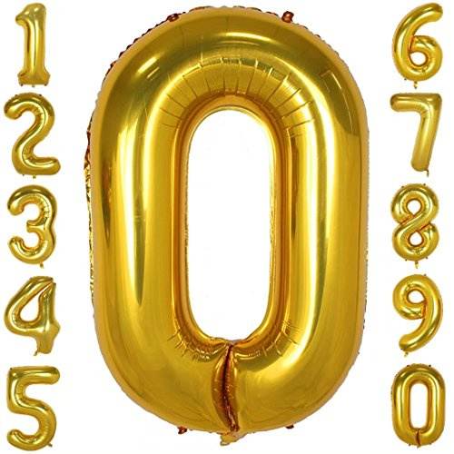40 Inch Large Number Balloons Gold Mylar Foil Big Number 0 Giant Helium Balloon Birthday Party (Gold Helium Balloon)