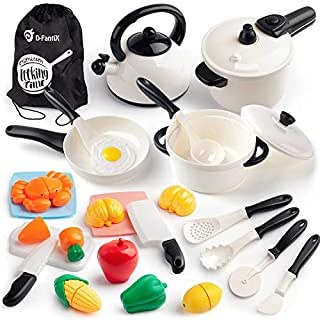 D-FantiX Pretend Play Toy Kitchen Accessories Kids Pots and Pans Playset Cooking Set with Cookware Utensils Food Kitchen Toys for Toddler Boys Girls 3 4 5 + Years Old